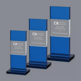 Three sizes of blue glass award