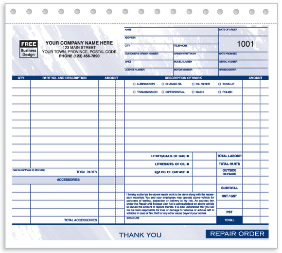 Compact Repair Work Orders/Invoices (650)