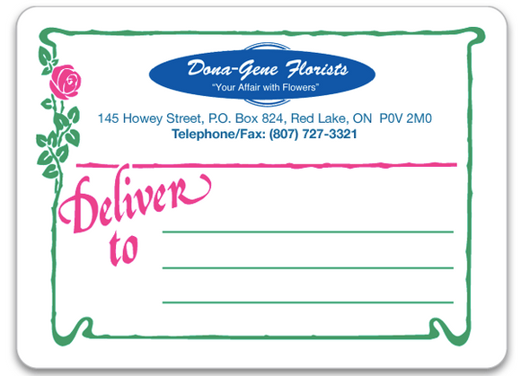 Florist Forms - Delivery Label CC2758
