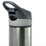 closeup of stainless steel travel mug