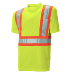 "Short Sleeve Traffic T-shirt - 4"" Contrasting Colour Tape With 2""  Reflective Silver Tape C59128102"