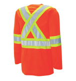 "Long Sleeve Traffic T-shirt - 4"" Contrasting Colour Tape with 2"" Reflective Silver Tape"