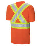 "Short Sleeve Cotton Traffic T-Shirt - 4"" Contrasting Colour Tape With 2"" Reflective Silver Tape C59018102"