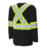 "Long Sleeve Cotton Traffic T-Shirt - 4"" Contrasting Colour Tape With 2"" Reflective Silver Tape C60018102"