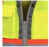 HI-VIZ MESH BACK ZIP FRONT SURV. SAFETY VEST