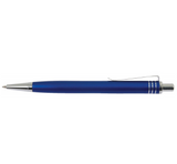 Side view of blue aluminum pen