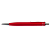 Side view of red aluminum pen