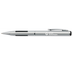 Silver Metal Pen with Black Grip and White Logo