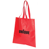 Red tote bag with logo
