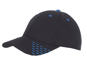 Black baseball cap with blue embroidery accents