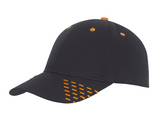 Black baseball cap with orange embroidery accents