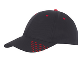 Black baseball cap with red embroidery accents