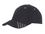 Black baseball cap with white embroidery accents