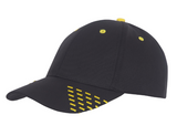 Black baseball cap with yellow embroidery accents