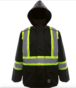Black safety jacket with fluorescent striping