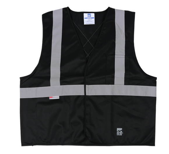 black safety vest with silver striping