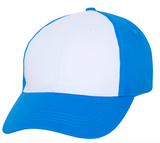 blue baseball cap with white front panel