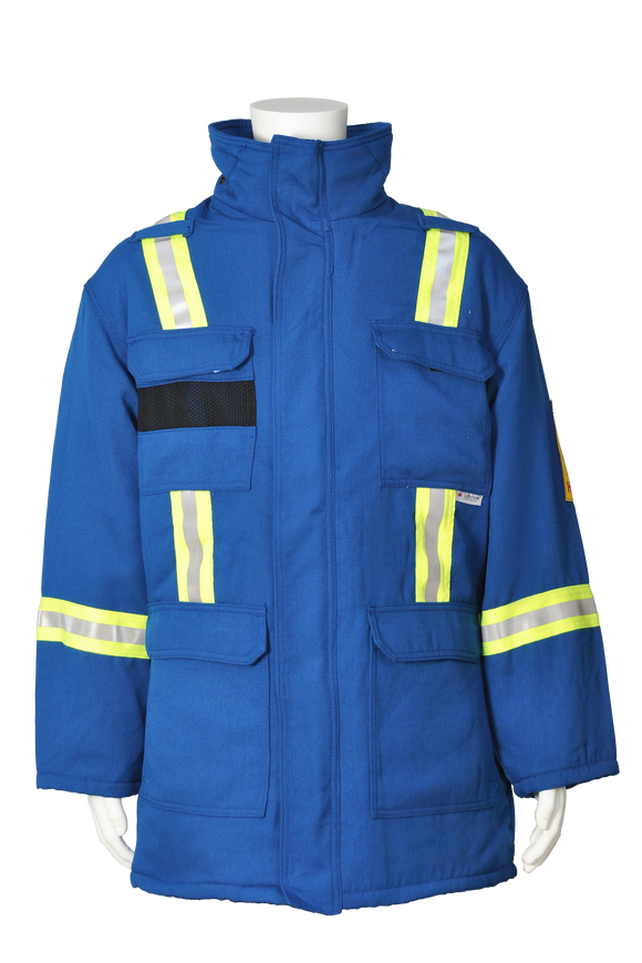 Blue Fire resistant safety striped insulated parka