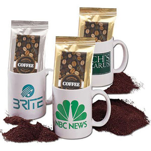 Coffee and mug gift pack with custom logo