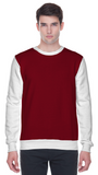 Colour block sweatshirt in maroon and white