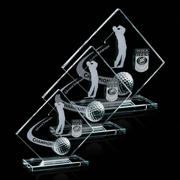 Crystal Glass Golf Award Three Sizes