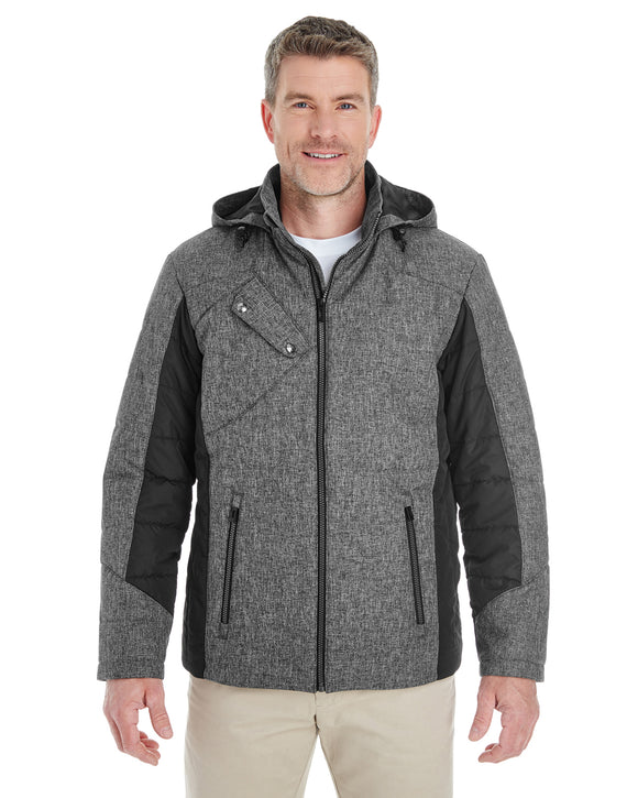 Devon & Jones Men's Midtown Insulated Fabric-Block Jacket with Crosshatch Mélange