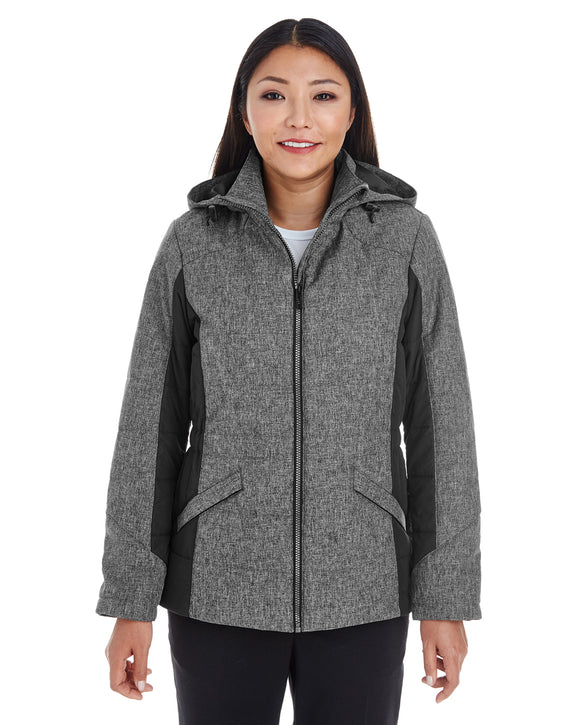 Devon & Jones Ladies' Midtown Insulated Fabric-Block Jacket with Crosshatch Mélange