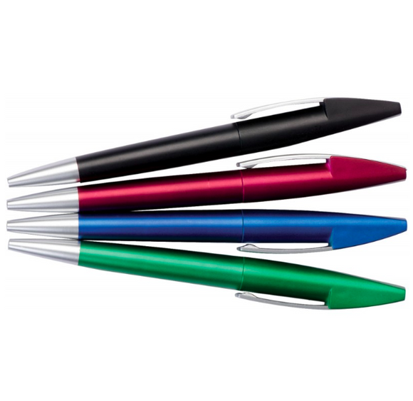 Four plastic pens black red blue green