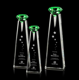 Green Optical Crystal Award with Diamond Top