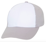 grey baseball cap with white front panel
