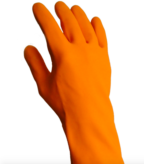 Heavy duty orange latex gloves