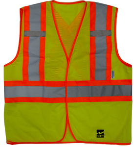 High visibility green safety vest