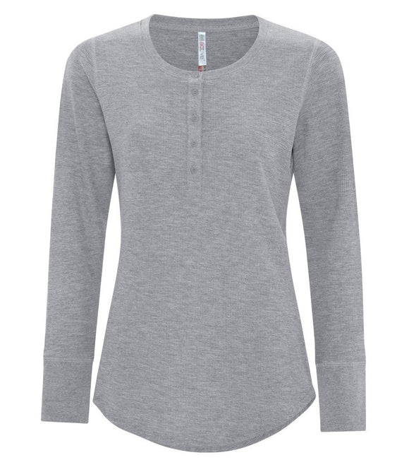 Ladies long sleeve henley athletic grey