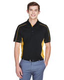 Mens colour block polo gold