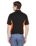 Mens colour block polo orange back