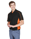 Mens colour block polo orange side