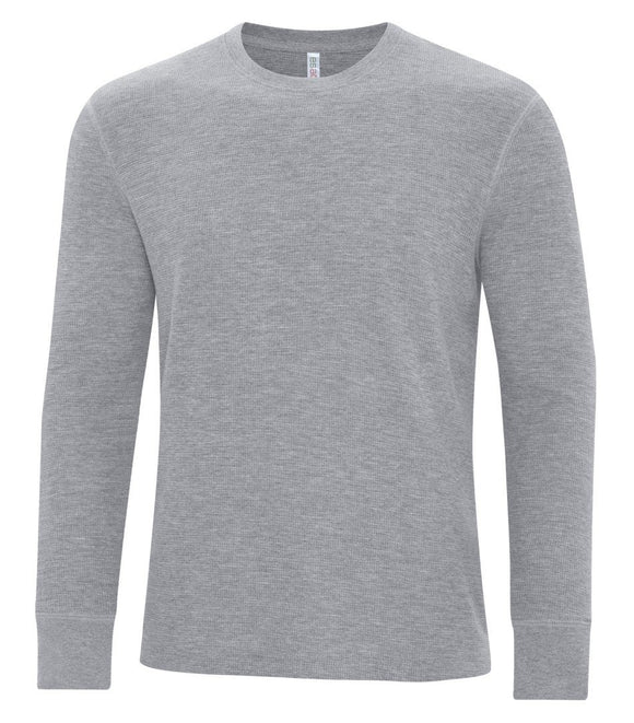 Mens waffle knit long sleeve athletic grey