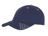 Navy baseball cap with white embroidery accents