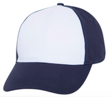 navy baseball cap with white front panel