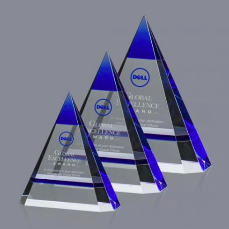 Optical Crystal Blue Triangle Awards
