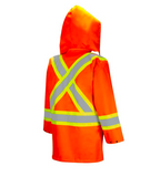 Orange High Visibility Safety Rain Jacket Back View