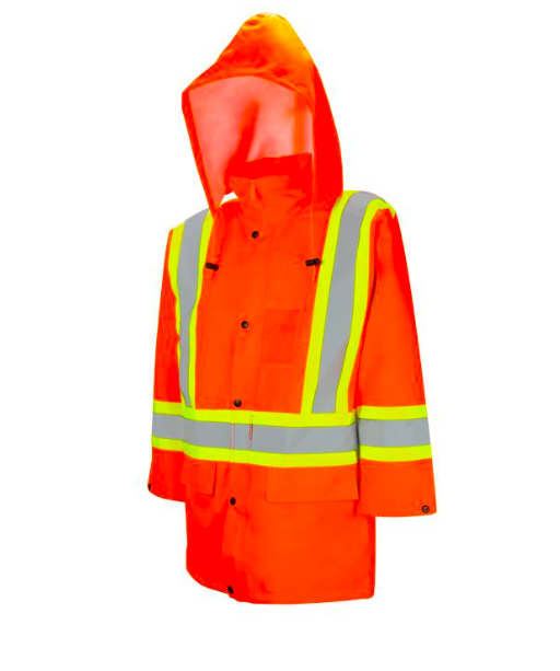 Orange High Visibility Safety Rain Jacket