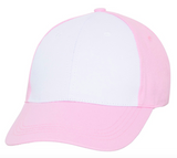 pink baseball cap with white front panel