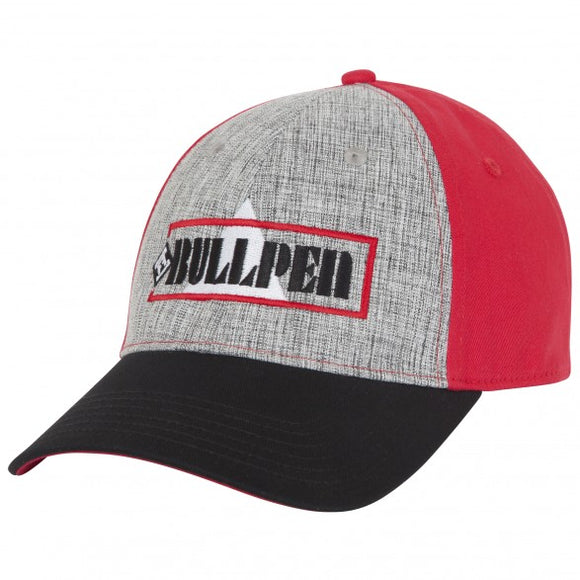 Red baseball cap with black peak and embroidered logo