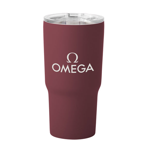 Soft touch matte burgundy stainless steel tumbler with logo