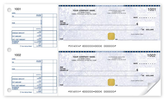Two to a page manual cheque