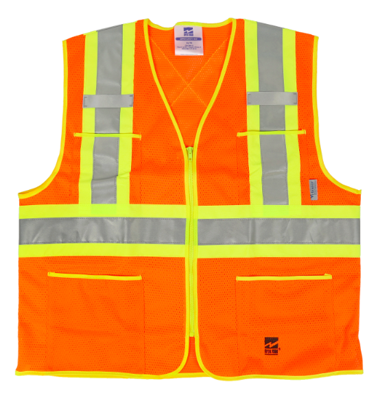 Fluorescent orange safety vest