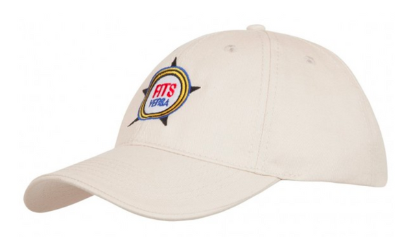 White baseball cap with embroidered logo