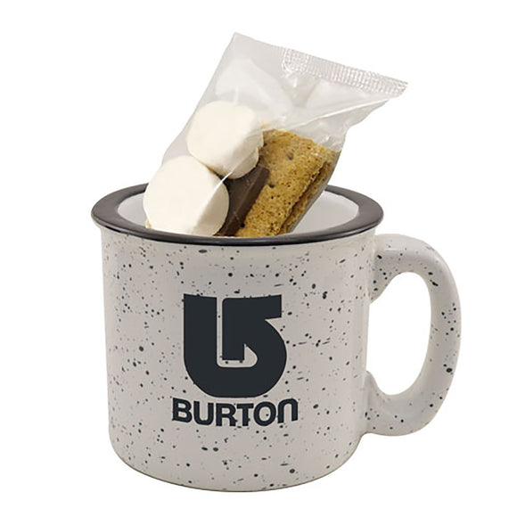 White speckled camping mug with logo and smores kit