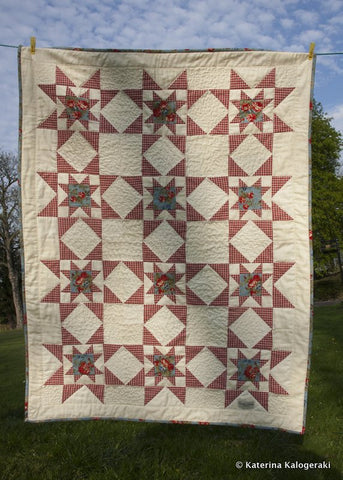 Americana Expanding Star Quilt - Vintage and Floral handmade quilts